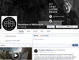 Homeless of Melbourne Facebook community homepage